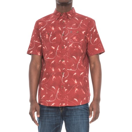 Coleman Printed Stretch-Woven Guide Shirt - UPF 30, Short Sleeve (For Men) in Red