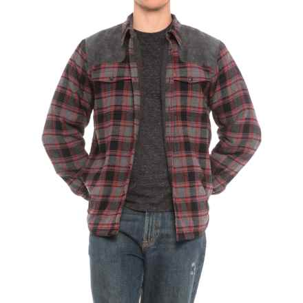 Coleman Sherpa-Lined Flannel Shirt Jacket (For Men) in Grey/Black/Red Plaid - Closeouts
