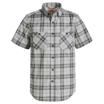 Coleman Stretch Guide Plaid Shirt - UPF 30, Short Sleeve (For Big Boys) in Grey - Closeouts