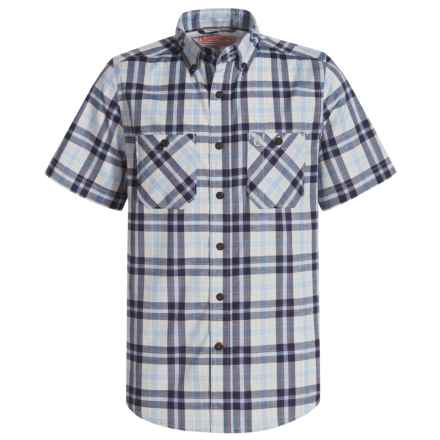 Coleman Stretch Guide Plaid Shirt - UPF 30, Short Sleeve (For Big Boys) in Navy/Red - Closeouts