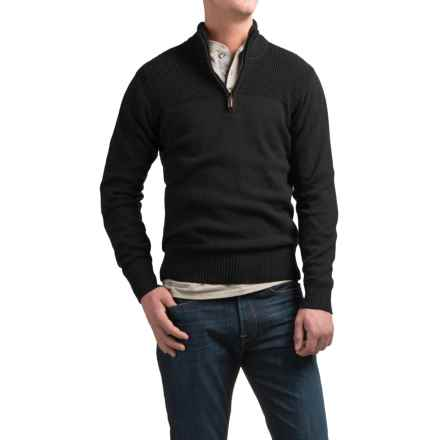 Coleman Zip Neck Sweater - Sherpa-Lined Collar (For Men) in Charcoal Marl - Closeouts