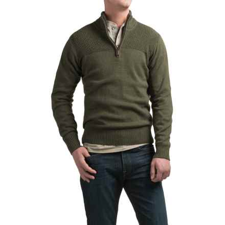 Coleman Zip Neck Sweater - Sherpa-Lined Collar (For Men) in Olive Drab Marl - Closeouts