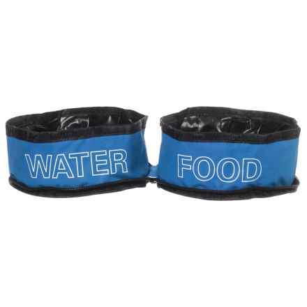 Coleman Zip Travel Double Pet Bowl - Two 24 oz. Bowls in Blue - Closeouts