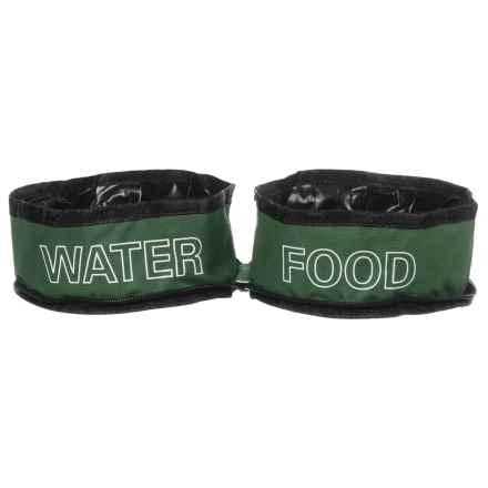 Coleman Zip Travel Double Pet Bowl - Two 24 oz. Bowls in Green - Closeouts