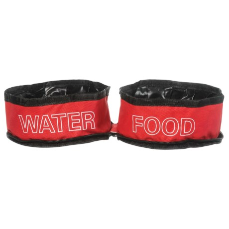 Coleman Zip Travel Double Pet Bowl - Two 24 oz. Bowls in Red