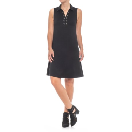 Collared Lace-Up Dress - Sleeveless (For Women)