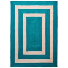 Colonial Mills Braided Indoor/Outdoor Area Rug - 5x7', Bordered Delight in Aqua - Overstock