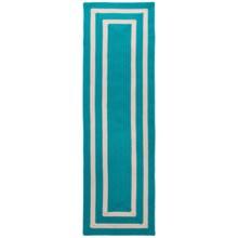 Colonial Mills Braided Indoor/Outdoor Floor Runner - 2x7', Bordered Delight in Aqua - Overstock