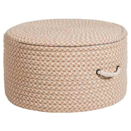 "Colonial Mills Brisbane Houndstooth Pouf Ottoman - 11x20"" in Natural Bliss - Closeouts"