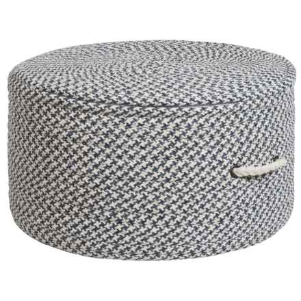 "Colonial Mills Brisbane Houndstooth Pouf Ottoman - 11x20"" in Washed Blue - Closeouts"