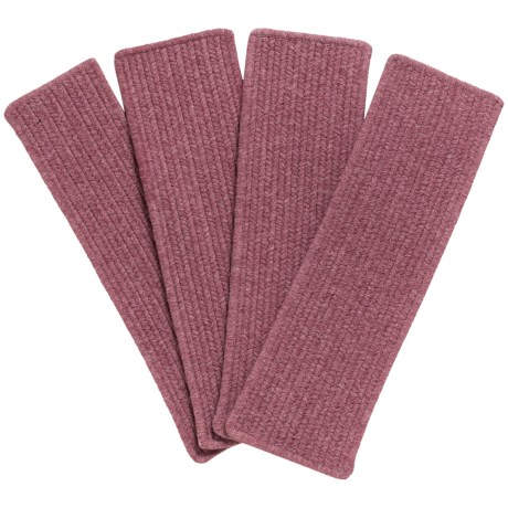 Colonial Mills Heathered Rectangle Stair Treads - Wool Blend, Set of 4 in Dark Plum