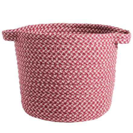 Colonial Mills Houndstooth Braided Storage Basket - Large in Sangria - Closeouts