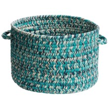 "Colonial Mills Indoor/Outdoor Textured-Tone Storage Basket - 15"" Round in Aqua Dream - Overstock"