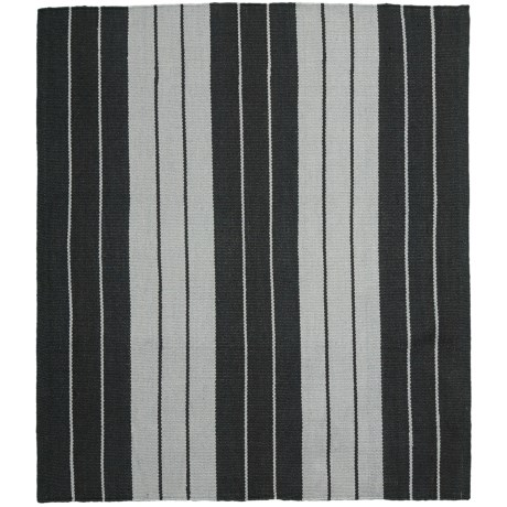 "Colonial Mills Lux Stripe Flat-Weave Rug - 26x34"" in Black/White"