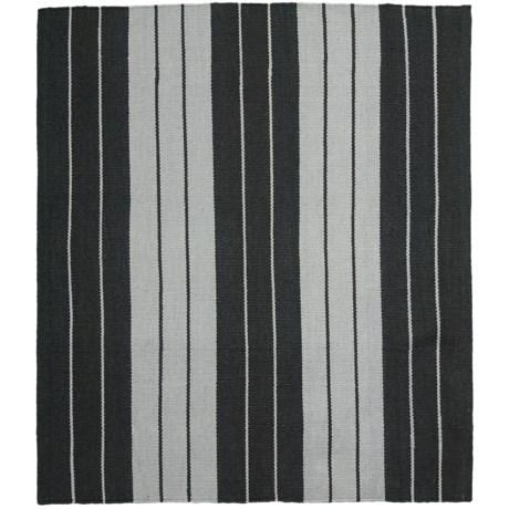 "Colonial Mills Lux Stripe Flat-Weave Rug - 26x34"" in Black/White"