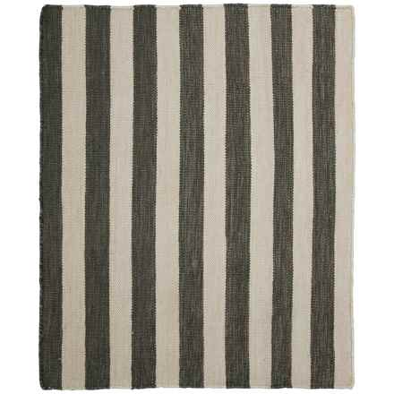 "Colonial Mills Lux Stripe Flat-Weave Rug - 26x34"" in Charcoal/Ivory - Closeouts"