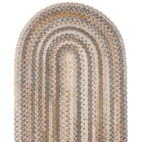 Colonial Mills Millworks Oval Floor Runner - 2x10', Braided Wool in Cashew