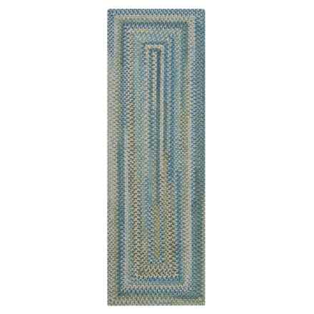 Colonial Mills Misted Isle Wool Braided Floor Runner - 2x6' in Blue Crest - Closeouts