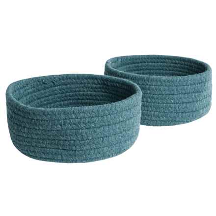 Colonial Mills Solid Wool-Blend Tabletop Storage Baskets - Set of 2 in Blue - Closeouts