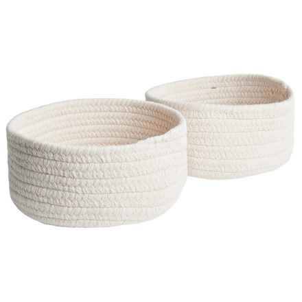 Colonial Mills Solid Wool-Blend Tabletop Storage Baskets - Set of 2 in Cream - Closeouts