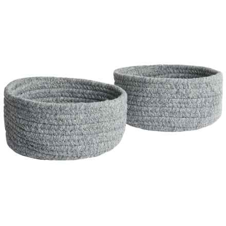 Colonial Mills Solid Wool-Blend Tabletop Storage Baskets - Set of 2 in Grey - Closeouts