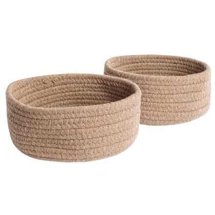 Colonial Mills Solid Wool-Blend Tabletop Storage Baskets - Set of 2 in Natural - Closeouts