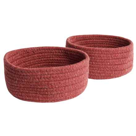 Colonial Mills Solid Wool-Blend Tabletop Storage Baskets - Set of 2 in Red - Closeouts