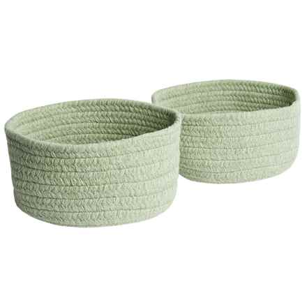 Colonial Mills Solid Wool-Blend Tabletop Storage Baskets - Set of 2 in Teal - Closeouts