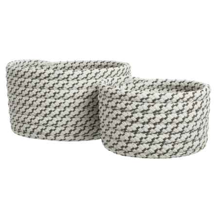 Colonial Mills Sterling Nesting Baskets - Set of 2 in Stone Grey - Closeouts