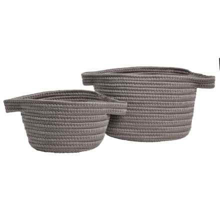 Colonial Mills Trynity Storage Baskets - Set of 2 in Grey - Overstock