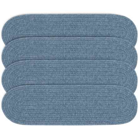 Colonial Mills Wool Blend Stair Treads - Set of 4, 8x28 in Federal Blue - Overstock