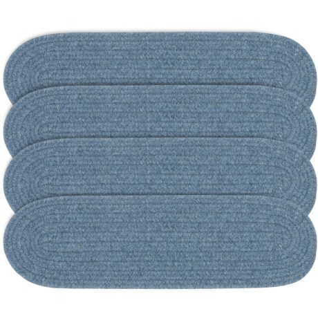 Colonial Mills Wool Blend Stair Treads - Set of 4, 8x28 in Federal Blue
