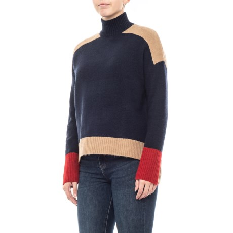 Image of Color Block Mock Neck Sweater (For Women)