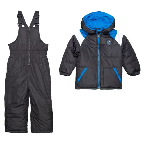 Image of Color Block Snow Jacket and Snow Bibs Set - Insulated (For Toddler Boys)