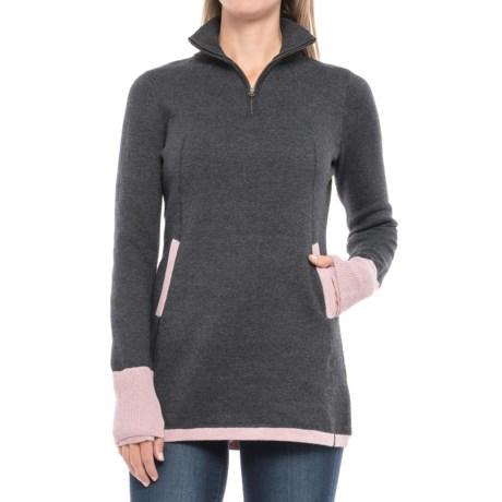 Image of Color-Block Sweater - Zip Mock Neck (For Women)