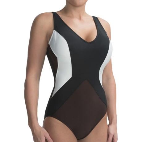 Color-Block Swimsuit (For Women) in Black