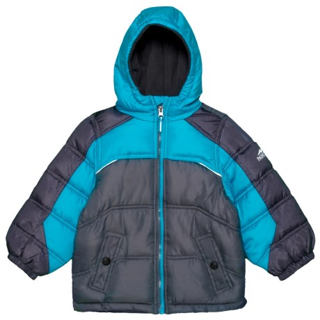 Image of Color-Blocked Heathered Puffer Jacket - Insulated (For Toddler Boys)