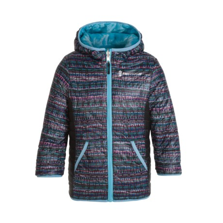 Image of Color-Blocked Printed Puffer Reversible Jacket - Insulated (Little Girls)