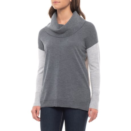 Image of Color-Blocked Tunic Sweater - Merino Wool (For Women)