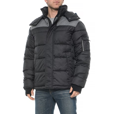 Image of Color Contrast Quilted Puffer Jacket - Insulated (For Men)