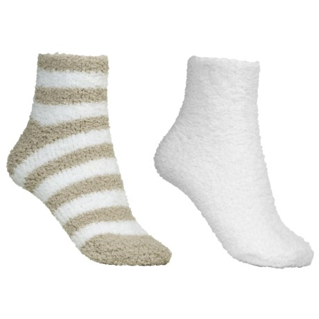 Colorado Clothing Chenille Solid/Stripe Ankle Socks - 2-Pack (For Women) in White/Sesame
