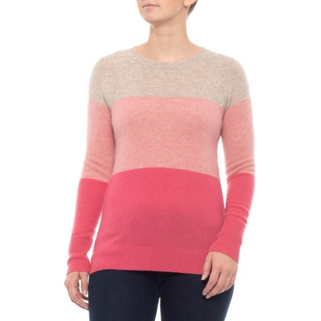 Image of Colorblock Shirt - Cashmere, Crew Neck, Long Sleeve (For Women)