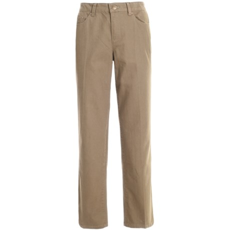 Colored Pants - Stretch Cotton, Straight Leg (For Women) in Sand