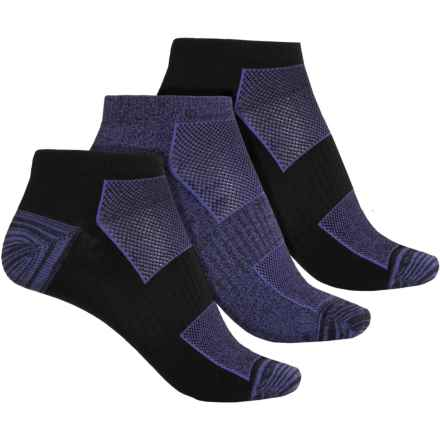 Columbia Sportswear Athletic Marled No-Show Socks - 3-Pack, Below the Ankle (For Women) in Black/Purple - Closeouts