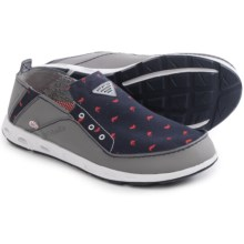 Columbia Sportswear Bahama Vent PFG Boat Shoes - Leather-Canvas, Slip-Ons (For Men) in Collegiate Navy/Bright Red - Closeouts
