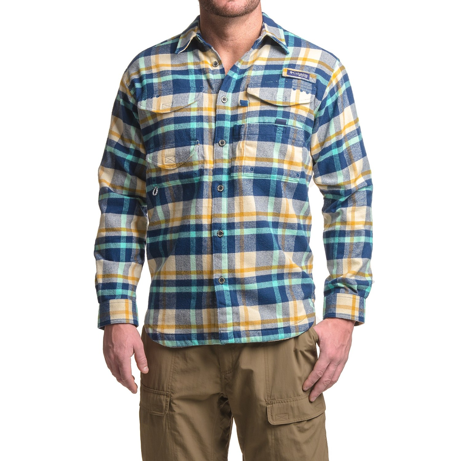 Columbia sportswear bonehead flannel shirt jacket for men for Flannel shirt and vest