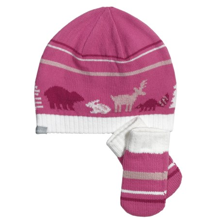 Columbia Sportswear Bunny Hill Beanie Hat and Mittens Set (For Infants) in Pink Taffy