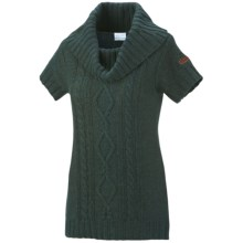 Columbia Sportswear Cabled Cutie Tunic Sweater - Cowl Neck, Short Sleeve (For Women) in Blue Spruce - Closeouts