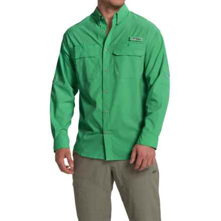 Columbia Sportswear Cast Away Omni-Freeze® ZERO Woven Shirt - UPF 50, Long Sleeve (For Men) in Dark Lime/Cool Grey - Closeouts