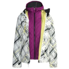 Columbia Sportswear Chic to Peak Jacket - 3-in-1 (For Girls) in Sea Salt/Tri-Plaid - Closeouts